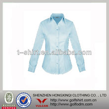 65%cotton 35% polyester solid color ladies work shirt