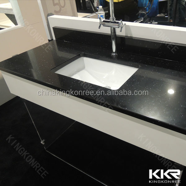 black sparkle kitchen artifical quartz stone countertops - buy