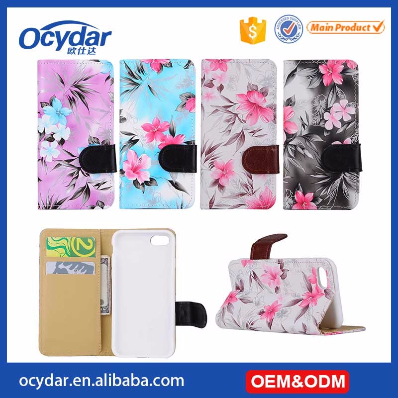 Fashion Flower Designed Leather Case for iPhone 7 with Card Slot