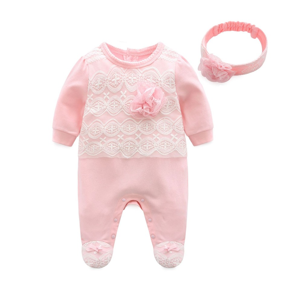Infant's Outfit Baby Rompers Cotton Baby Creeper with Hairband