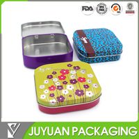 Custom design printed sanitary pad metal tin/small tin case for candy with hinged lid