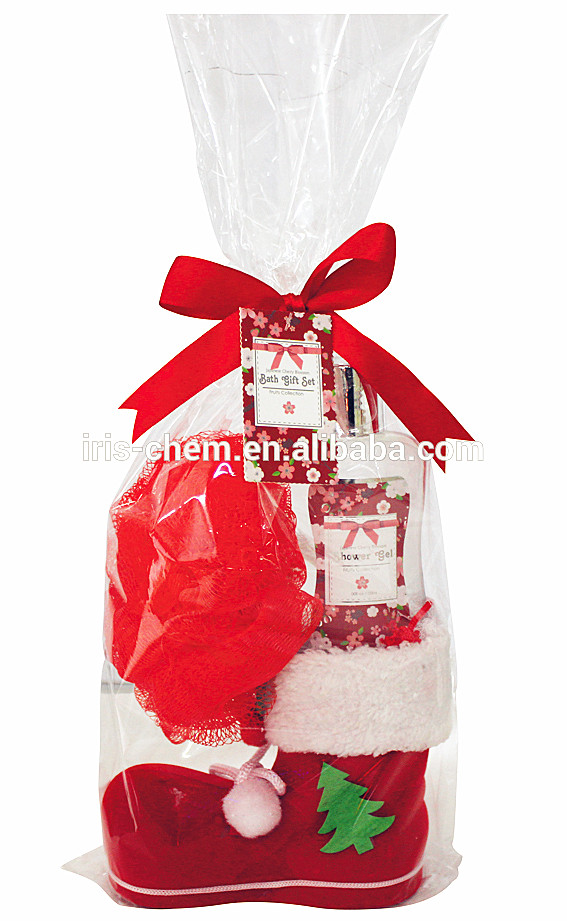 Christmas shoes bath gift set glassine paper with body lotion and shower gel