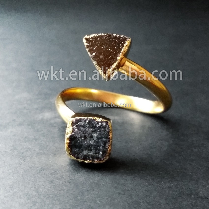 Hot sales!!! Amazing natural stone double druzy rings, beautiful druzy gemstone rings WT-R076