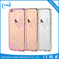 VOUNI Diamond Butterfly Slim Gel Clear Back Case Cover for iphone 6/6S,Bling Crystal Butterfly Mobile Phone PC Case