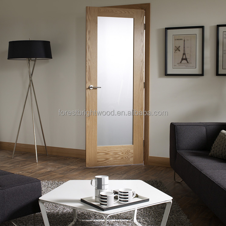 Forest Bright Mahogany 1-Lite Single Tempered Clear Glass Door