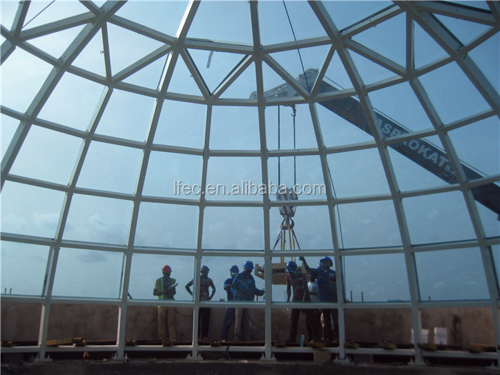 Color Light Steel Framed Tempered Glass Dome For Construction