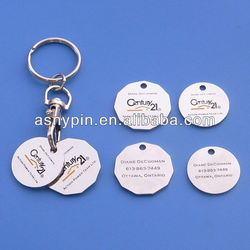 custom metal Canada grocery cart token coin key chain with 21 Centery logo