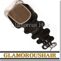 Human Virgin Hair 4*4 Bleached Knots Body Wave Free Parting Lace Closure
