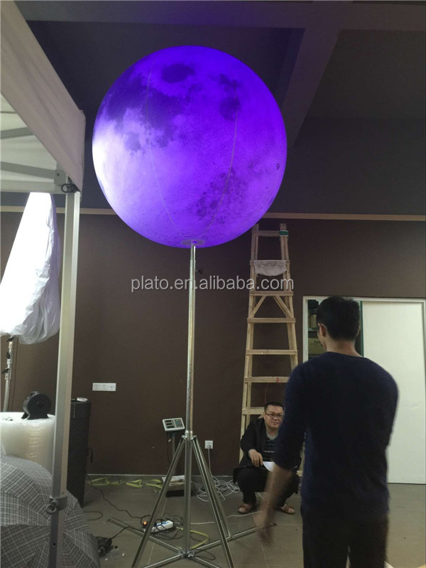 Giant 1.5m dia inflatable led lighting moon with tripod ,inflatable planet balloon /full moon globe for exhibition /decoration