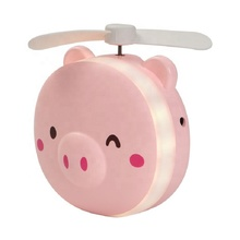Pig Beauty Portable Led Mirror Pocket <strong>Fan</strong> Usb Charging Mini Handheld <strong>Fan</strong> With Mirror Led Light Portable Small <strong>Fan</strong>