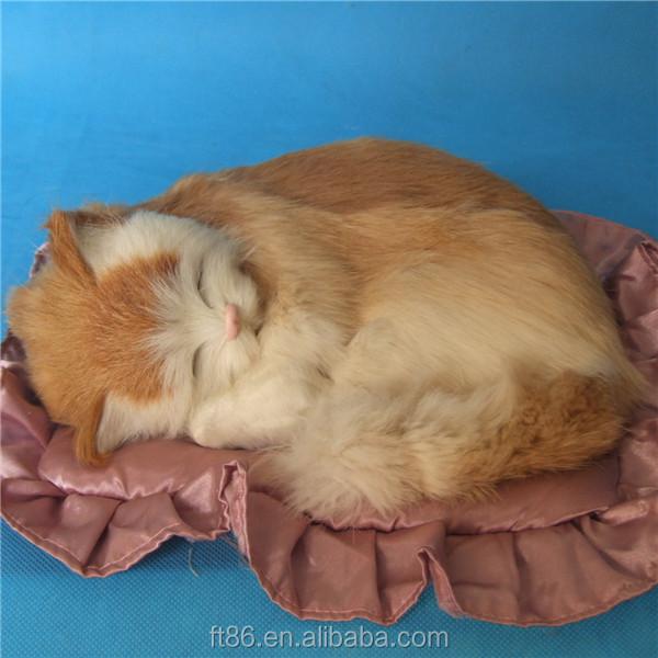 sch ne lebensechte haustier kissen atmen pl sch kunstfell schlafenden katzen aufblasbares. Black Bedroom Furniture Sets. Home Design Ideas