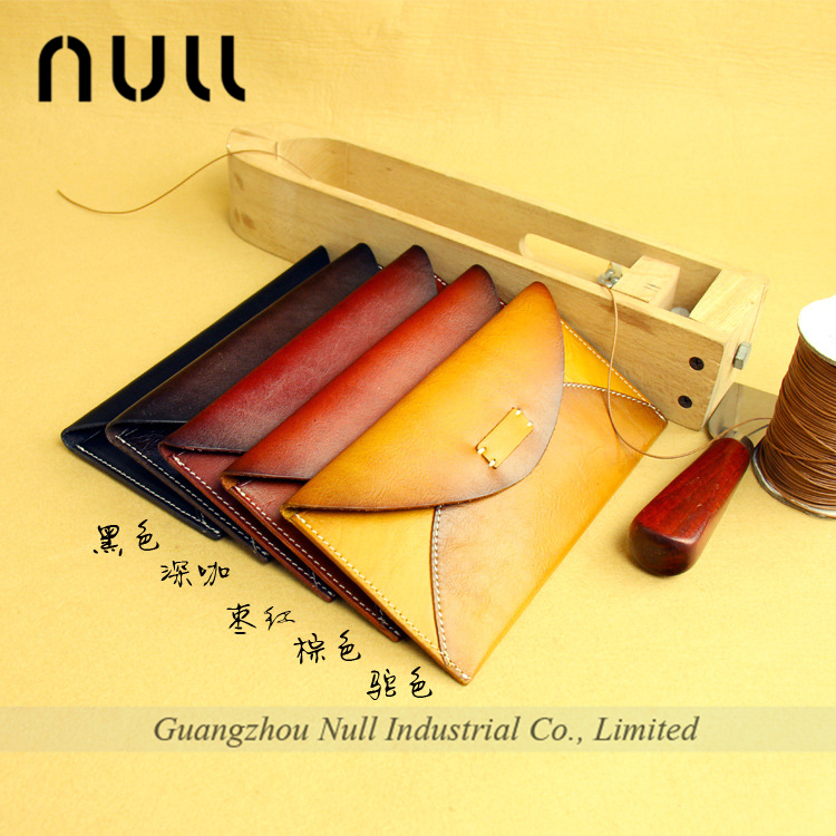 envelop style vegetable tanning business cell phone wallet