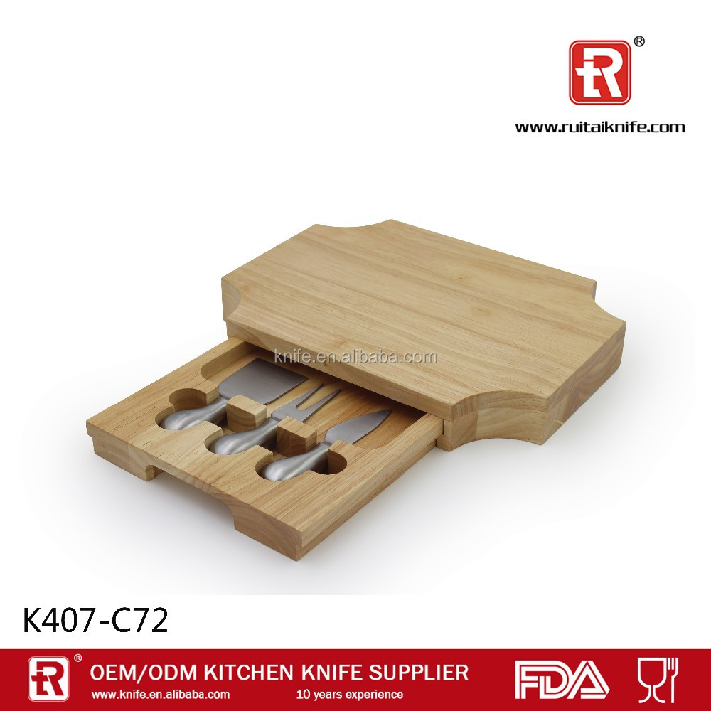 Stainless steel cheese knife set with wooden cutting board