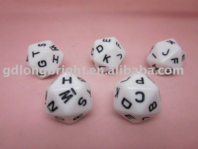 20 sided Acrylic Letter Dice