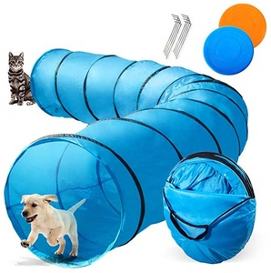 Dog Playing Tunnel 16.5ft Agility Pet Training Tunnel Tube 2 Frisbees Carry Bag Cats Dogs Outdoor Training