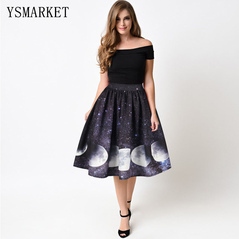 Starry Moon Digital Print Skirt Pleated Tutu Vintage High Waist Work Wear Midi Skirts Womens Clothing <strong>A008</strong>