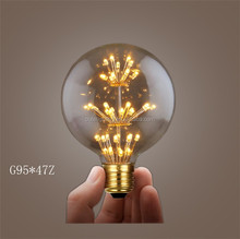 Vintage edison dimmable cob led filament bulb 1.8w e27 Decorative Bulb with Starry Sky Lighting