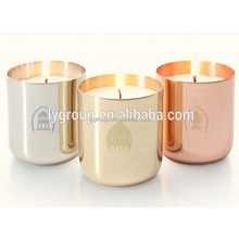 Amazon hot International 400ml Stainless Steel Copper Plated candle jar,400ml metal stemless Candle Cups For Lamp or Candle