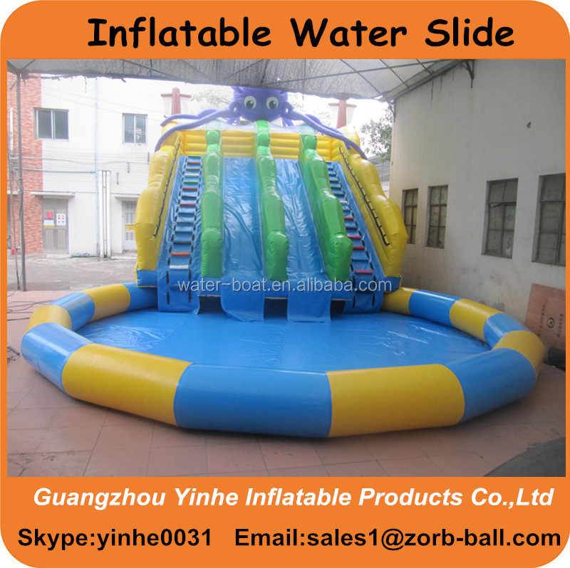 2016 Summer hot sale inflatable octopus water slide with pool