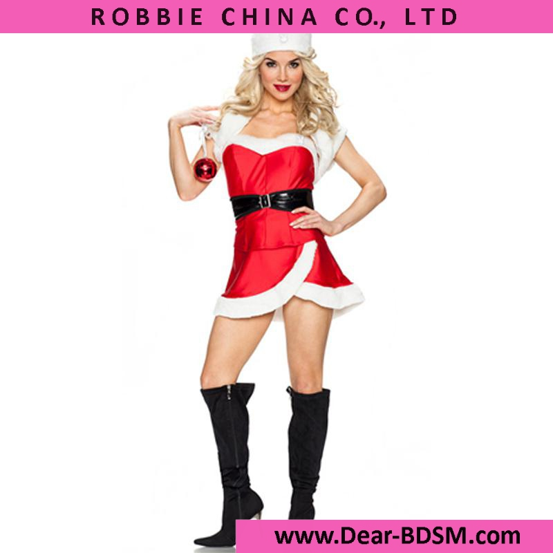 Fashion 2016 Christmas Costume Women Winter Red Fur Trim Santa Costume Dress With White Shawl Belt Christmas Cosplay Costumes