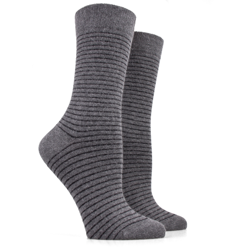 Always Fashion Adult Girls Classic Black Stripes 100 Angora Wool Crew Socks