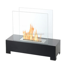 Free standing two sides glass bio ethanol fireplace
