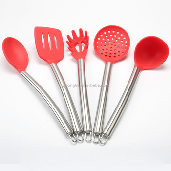 spoon ladle skimmer spagetti server slotted ladle 5 pieces nylon stainless steel cooking silicone kitchen set