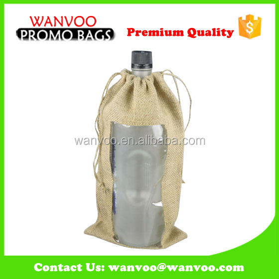 Single Drawstring Jute Fabric Wine Bottle Gift Bag Pattern With PVC Window