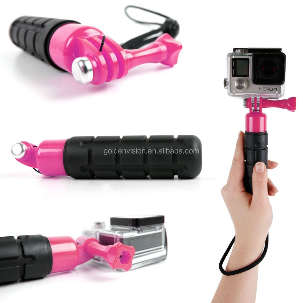 Waterproof Hand Grip Pole / Monopod with Wrist Strap in Black & Pink for the GoPro HERO4, HERO4 Session, HERO 3+, HERO 3, HERO 2