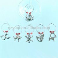 Silver plated wine glass charm ring home decorations