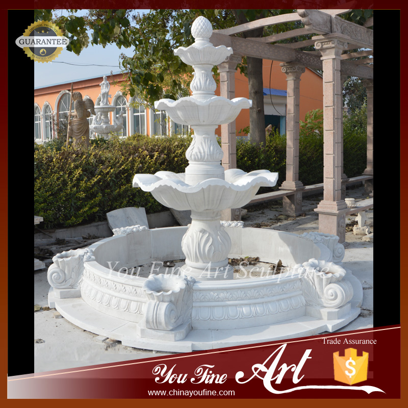 3 tier Simple Home Garden Marble Water Fountain with pots