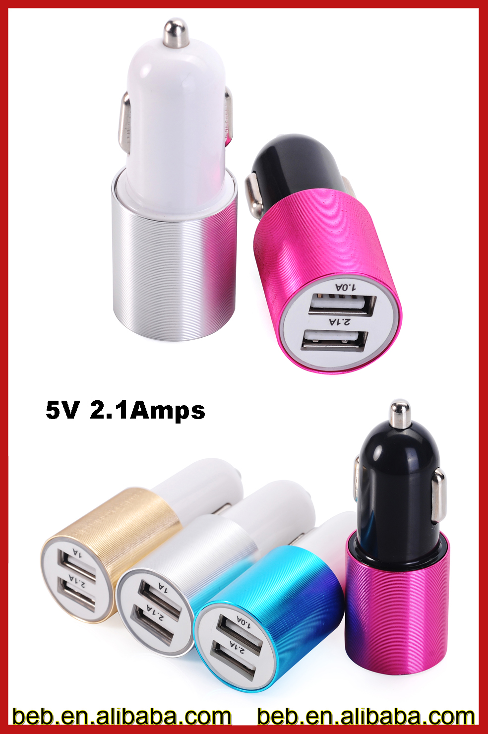 The cheapest 2 port usb car charger for ipad samsung car charger