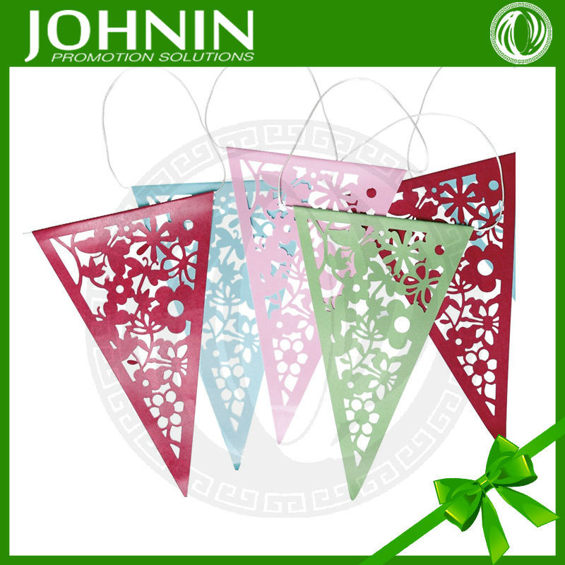 Customize carving flower coloured lace wedding party paper bunting