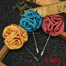 Fashion customs butterfly clutch yellow fabric satin rose flower lapel pin, lapel rosette