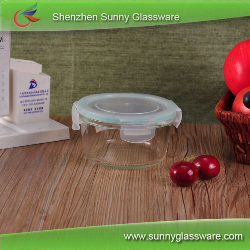 Food grade round glass lunch box for microwave oven