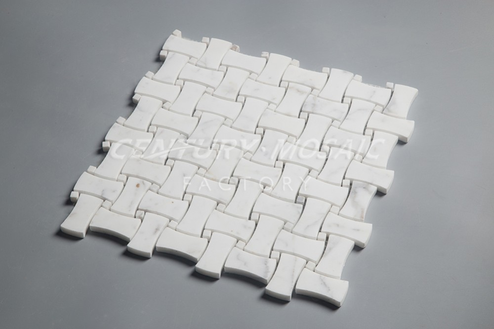 calacatta gold marble basket weave mosaic floor pattern tile