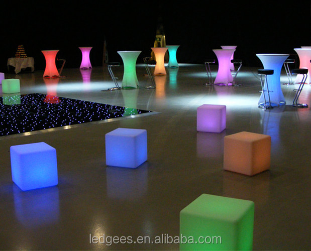 Magic multicolor furnishing-small seat and table LED cube outdoor cube seating