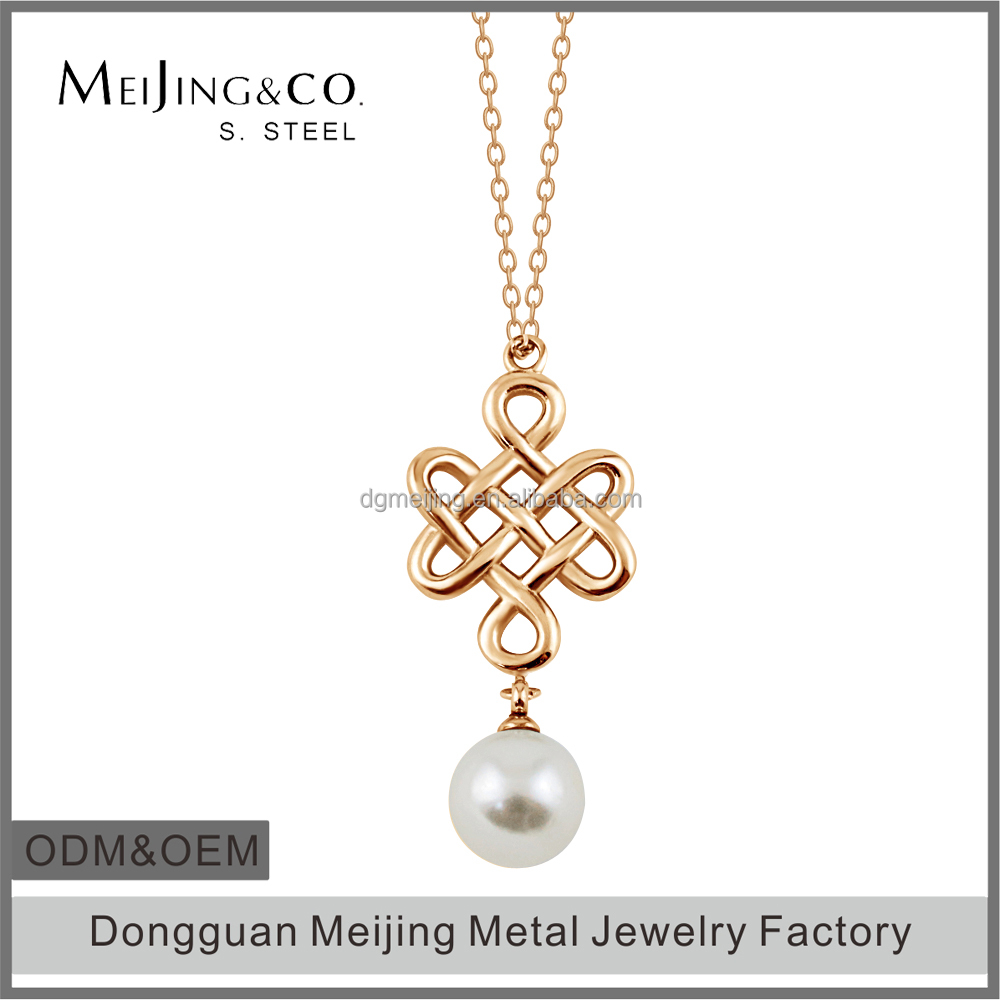 Latest Design Women Love Knot Artificial Pearl Pendant Necklace