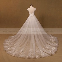 Cap Sleeves Lace Detachable Beaded Real Pictures Wedding Dress 2017