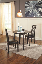 Modern wood frame dining table with hinged drop leaves