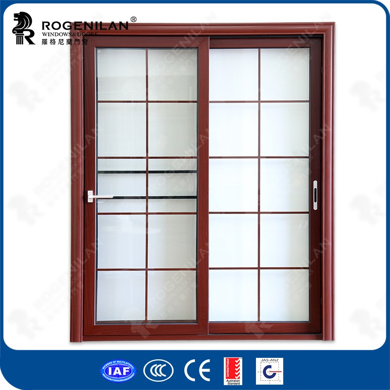 Rogenilan aluminum frame bathroom tinted sliding glass decorative interior door