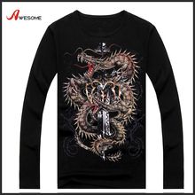 Hip Hop Tee Shirt Fashion 3D Stock Mens Wholesale High Quality T-shirt with Sword Dragon print