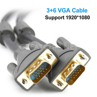 Support 1920*1080 Male to Male Cable Gold plated Gray 15 Pin VGA Cord to TV monitor