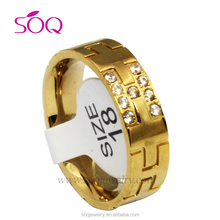 Stainless Steel Crystal Latest Gold Finger Ring Designs for Women Fashion Jewelry