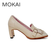 MK2045-5 BEIGE cow leather classic tassel high heel fashion women shoes