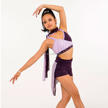 Yoga roll-over banded shorts with attached bias cut chiffon skirt-lyrical ballet