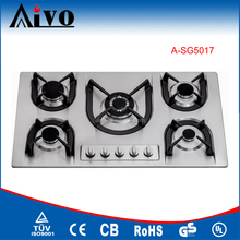 2017 Built-in stainless steel Panel 5 Burner cast iron Pan Supports Burner Cap Gas Hob/Gas Stove/Gas Cooker