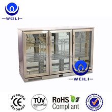 Hot sale toughened safety glass door stainless steel back bar beer cooler/fridge with lock