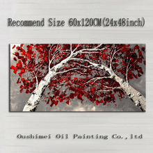 Top Skills Artist 100%Handmade High Quality Abstract Birch Tree Oil Painting On Canvas Handmade Red Leaves Tree Oil Paintings