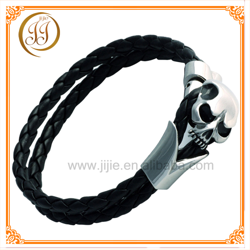 China manufacturers wholesale black leather bracelet for man